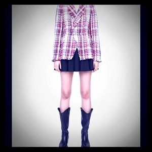 Zara Red White Plaid Tweed Jacket Blazer